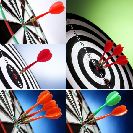 collage of five images,darts arrows in the target center photo