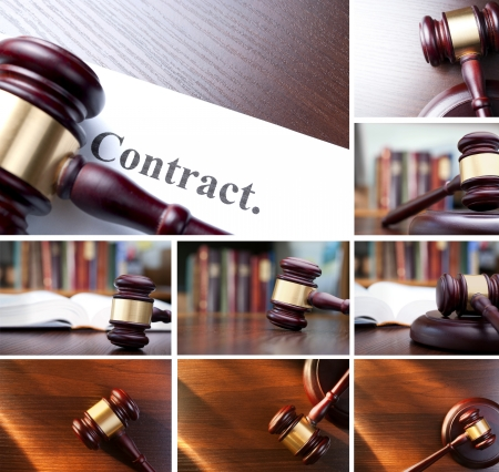 collage of pictures, gavel, books, contract photographed in the interior