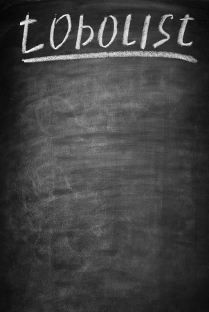 todo list: blackboard with chalk stains smeared and labeled todo list
