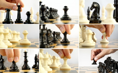 chess game: Composite image of nine photos of a chess game with close-ups of pieces and moves Stock Photo
