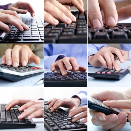 Composite of nine close-up images of businessmen hands using the technological devices keyboards of computers, mobile phones and calculators photo