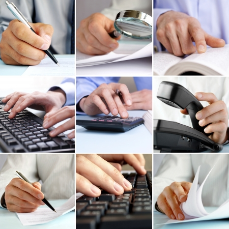 Composite of nine close-up images of businessmen hands working on the office using using modern and old technologies like computers, calculators, paper documents, pens and magnifying glasses photo