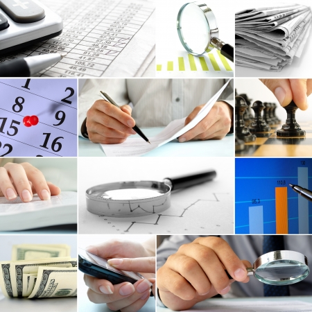 Composite of nine close-up images of office themes showing dollar bills, graphs, tables, and office workers photo