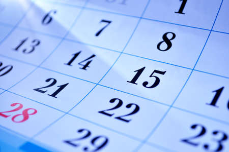 day planner: View of a calendar with dates for each day of the month and focus to the 15th