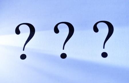 search query: Three question marks on an abstract blue background depicting unanswered questions, interrogation, confusion and solutions