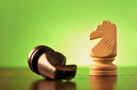 pensamiento estrategico: Dos caballeros de madera en una partida de ajedrez con el pedazo más oscuro que miente en su cara y la más ligera en posición vertical, vista de ángulo bajo en verde