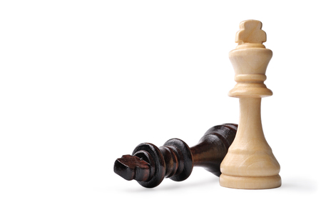 entertainment risk: Two wooden king chess pieces on white, one in light coloured wood standing upright and the dark king lying on its side with copyspace