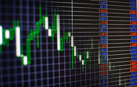 charting: Electronic digital interface at a stock exchange or bourse showing the fluctuating prices of stocks and shares on the markets charting their performance