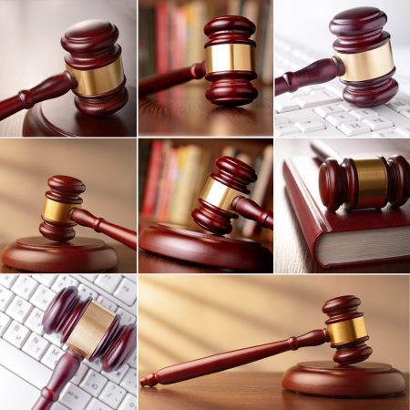 set of images of the gavel in the courtroom and computer keyboard