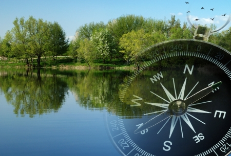 Conceptual image of a magnetic compass superimposed over a tranquil sunny lake with reflected trees and birds flying overhead