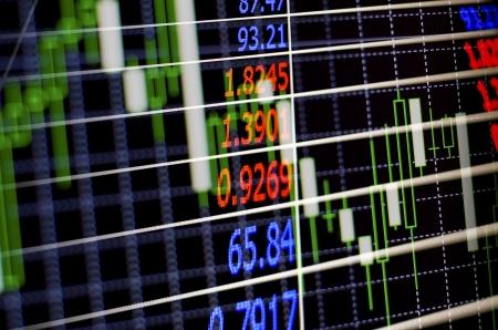Elektronische digitale Schnittstelle an einer Börse oder Börse, die die schwankenden Preise von Wertpapieren und Aktien auf den Märkten Charting ihre Leistung Lizenzfreie Bilder
