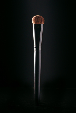 brash: Close up of the head and soft bristles of a cosmetics applicator brush highlighted against a dark background with copyspace