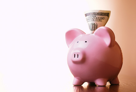 bringing: Dollar banknote in the slot of a pink ceramic piggy bank on a blue background with a highlight for copyspace in a financial and savings concept
