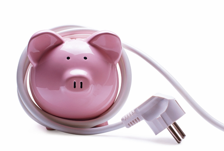 electricity tariff: Online banking and savings concept with a pink ceramic piggy bank standing coiled in a white computer cord and plug isolated on a white background