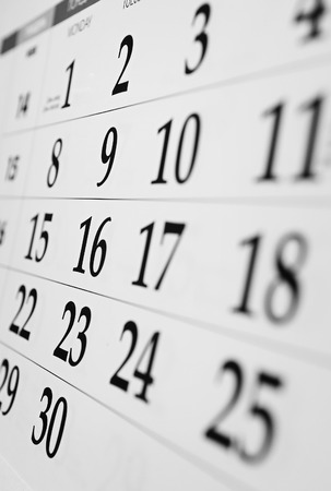 Calendar with dates viewed at an oblique angle with shallow dof