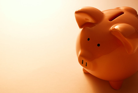 Backlit pink ceramic piggy bank standing facing the camera in a financial, savings and investment concept Standard-Bild