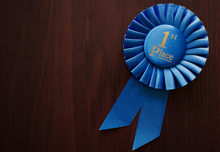 blue ribbon: First place winners rosette or badge in pleated blue ribbon with central text to be awarded as a prize in a competition, race, or sport at an oblique angle on grey with copyspace Stock Photo
