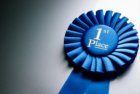places: Blue first place winner rosette or badge from pleated ribbon with central text to be awarded to the winner of a competition on a graduated grey background with copyspace