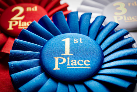 blue ribbon: 1st place blue winners rosette or badge to be awarded as a prize to the winner of a competition made of pleated blue ribbon with central text in gold with a 2nd place red rosette behind