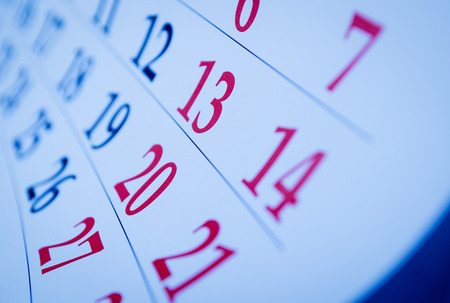 memento: Blank calendar with squares viewed obliquely with focus to the dates Stock Photo