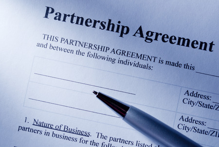 Close Up Partnership Agreement Paper And Pen, Emphasizing The ...