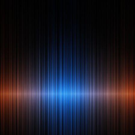 blue orange horizontal sound waves on a dark background photo