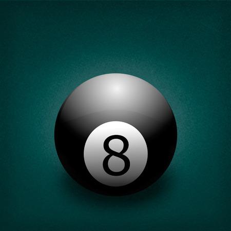 billiard ball: billiard ball number eight on a green background