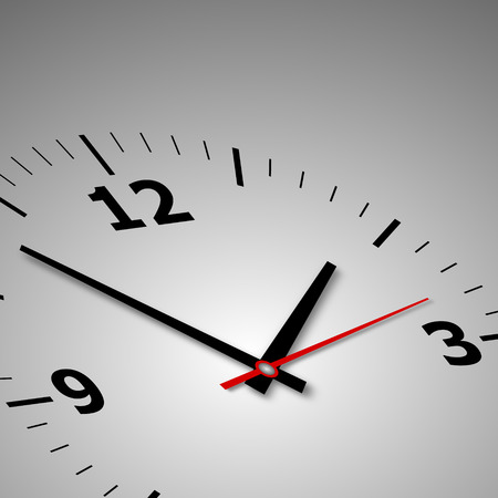 oclock: wall clock on a gray background with arrows and numbers Stock Photo
