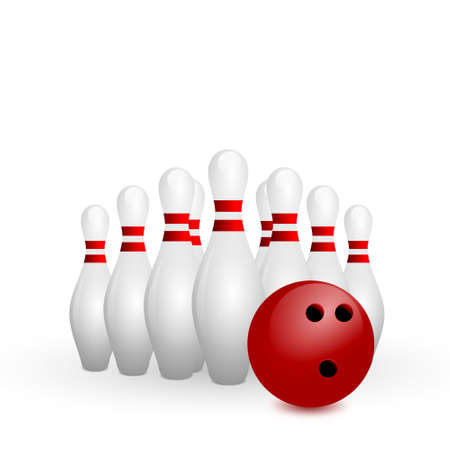 skittles: white bowling skittles and red ball on a white background