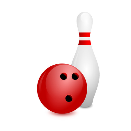 pursuit: white bowling skittles and red ball on a white background