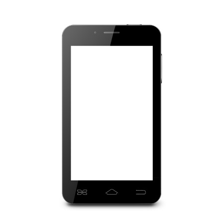 Black mobile phone with blank screen on a white background