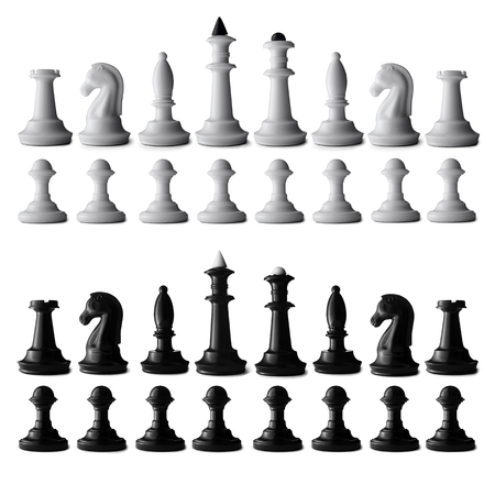chessboard: Full black and white chess set isolated on white with all the chess pieces neatly arranged in rows