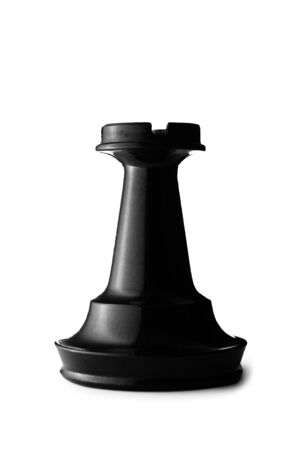 Close up Three Dimensional Standing Black Rook of a Chess Game. Isolated on a White Background. photo