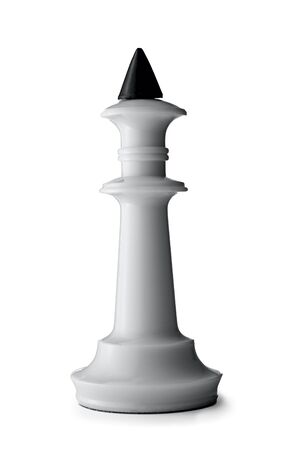 tip up: Close up Three Dimensional White King Chess Piece with Black Tip, Isolated on White Background. Stock Photo