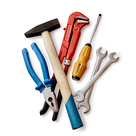 screw driver: Set of Hand Work Tools with Pliers, Pipe and Open Ended Wrenches, Screw Driver and Hammer. Isolated on White Background