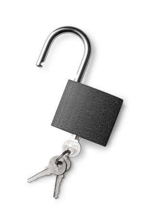 safeguarded: Closeup padlock and keys on a white background Stock Photo