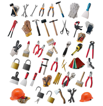 Large selection of assorted different hand tools and safety gear for DIY, construction, maintenance and renovation isolated on white Standard-Bild
