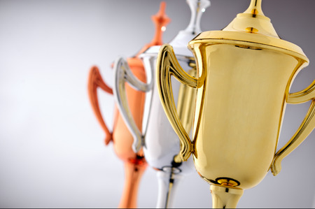 Three trophy cups in gold, silver and bronze with to be awarded to the first, second and third places contestants in a competition