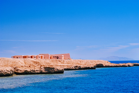 View of the Red Sea and coast Sinai, Egypt on a sunny day Stock Photo