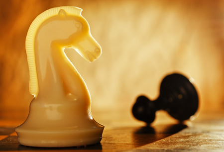 winning idea: Chess knight pawn in front and in the background. The idea of winning and strategies. Stock Photo