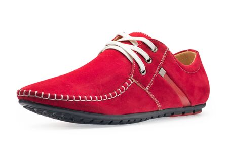 moccasins: Single leather red color male moccasins with shoelaces on a white background Stock Photo