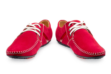 moccasins: Pair leather red color male moccasins with shoelaces on a white background Stock Photo