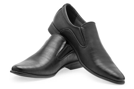 footware: A pair of classical black leather shoes for men, without shoelaces on a white background