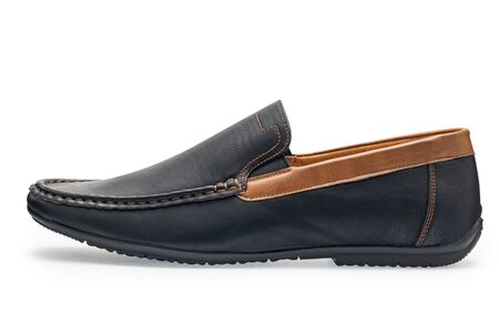 moccasins: Single leather dark blue color male moccasins on a white background Stock Photo