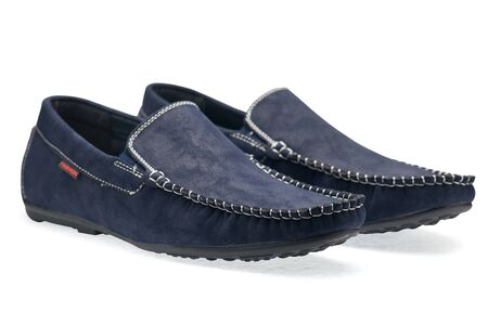 moccasins: Pair leather blue color male moccasins on a white background Stock Photo
