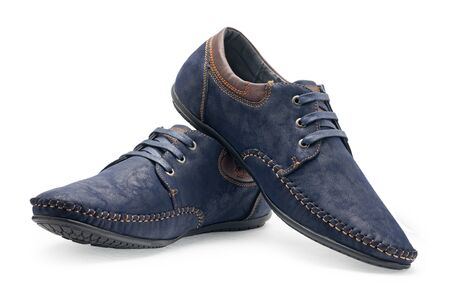 loafers: Pair leather blue color male moccasins with shoelaces on a white background