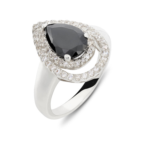 diamante: Close up on teardrop shaped beautiful quartz and diamond ring over white background with slight set down shadow