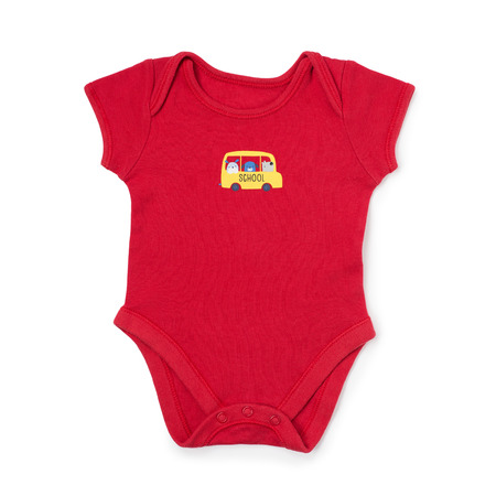 jumpsuit: Cute red baby onesie jumpsuit with little school bus on front over white background Stock Photo