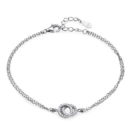 Elegant silver bracelet with a pendant in the shape of two rings with diamonds on a white background Stock Photo