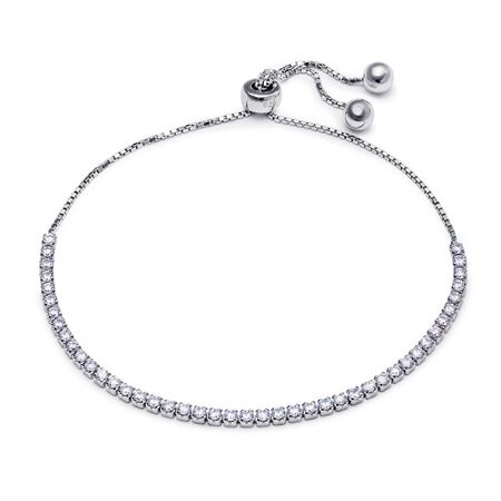 coulomb: A beautiful silver bracelet with diamonds on a chain over a white background